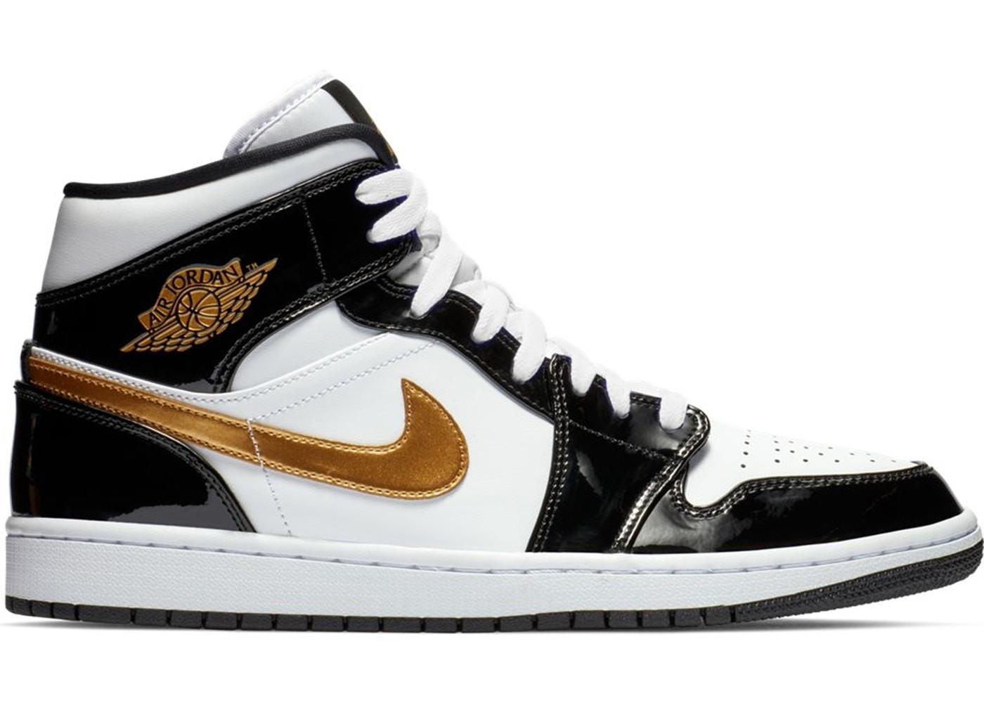 """Jordan 1 Mid Patent """"Black White Gold"""""""