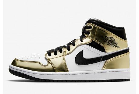 """Jordan 1 Mid """"Metallic Gold Black White"""""""