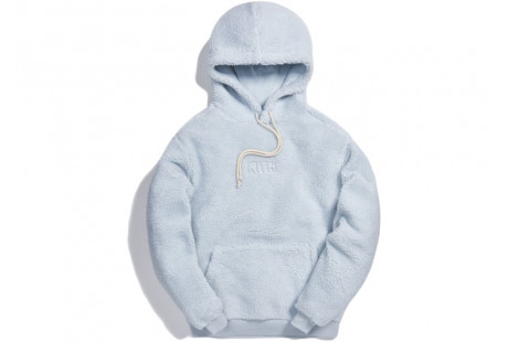 "Kith Sherpa Classic Logo Hoodie ""Illusion Blue"""