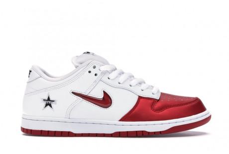 """Nike SB Dunk Low Supreme Jewel Swoosh """"Red"""""""