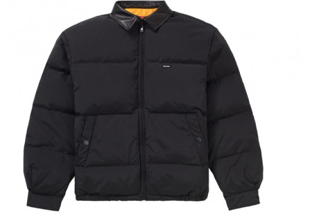 "Supreme Leather Collar Puffy Jacket ""Black"""