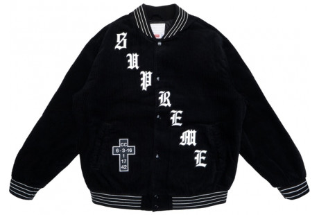 "Supreme Old English Corduroy Varsity Jacket ""Black"""