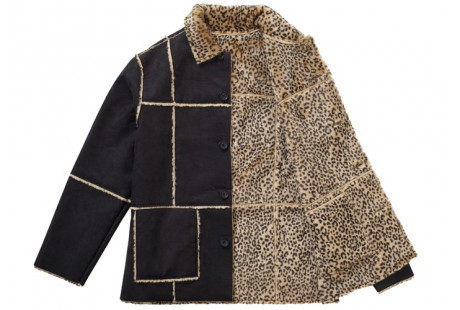 "Supreme Reversible Faux Suede Leopard Coat ""Black"""