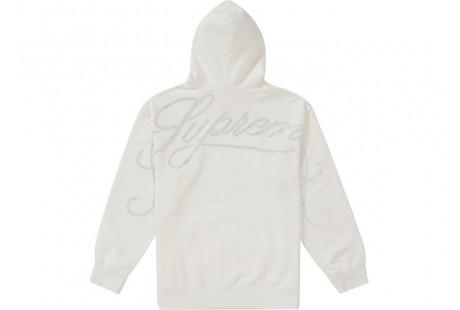 "Supreme Rhinestone Script Hooded Sweatshirt ""White"""