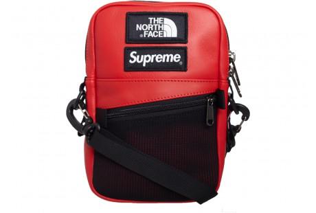 "Supreme The North Face Leather Shoulder Bag ""Red"""
